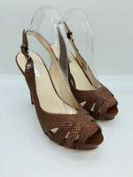 G By Guess Women's GW Haben Open Toe Platform Sandals Dark Brown Leather US 5.5