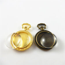 Cameo Base Jewelry Pendants 4pcs Vintage Gold&Bronze Alloy Engraved Pocket Watch