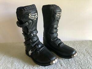 Fox Racing Tracker Junior Black Dirt Bike MX Boots Size 6 Off-Road Motorcycle