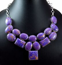 558ct Natural Semi Precious Purple Turquoise Gemstone Silver Plated Necklace