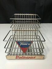 Vintage Original TOM'S DELICIOUS PEANUTS METAL STORE COUNTER DISPLAY RACK 2-Tier