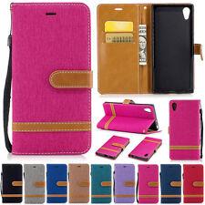 Jeans Card Wallet Leather Flip Case Cover For Sony XA1 XZS XA1 Plus L2 XA2 Ultra