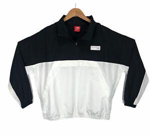New Balance Windbreaker Mens S 1/4 zip Pullover Black & White Spell Out on Back