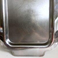 "Art Deco Serving Tray 18.5"" vtg Chrome Brass Machine Age Mid Century"