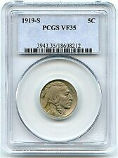 1919-S Buffalo Nickel, PCGS VF-35, Very Nice and Original Coin, Better Date!
