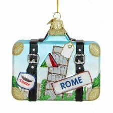 Italy Suitcase Glass Ornament