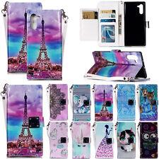 Para Samsung Note 10 Smartphone OnePlus 7 Xiaomi Mi A2 3D Cuero Abatible Tarjeta Billetera Estuche Cubierta