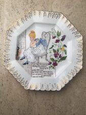 Antique Victorian Porcelain Nursery Rhyme 1885 Folk Art Hand Painted Plate OOAK