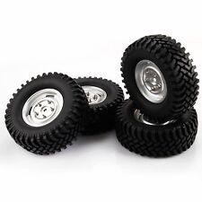4PCS Silver Aluminum Wheels & 100mm Tires for RC 1:10 Rock Crawler Car
