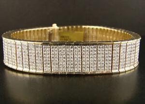 12.98CT Natural Round Diamond 14k Solid Yellow Gold Bracelet