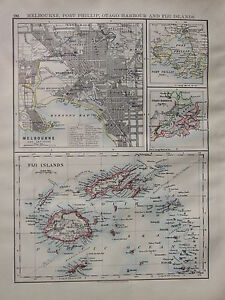 1900 VICTORIAN MAP ~ MELBOURNE CITY PLAN PORT PHILLIP OTAGO HARBOUR FIJI ISLANDS