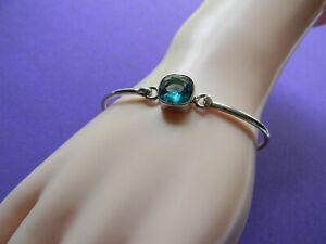 vinitage Sterling Silver BLUE TOPAZ Cuff /bangle that opens   Cushion cut gem