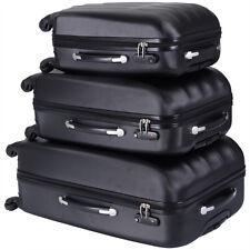 ECO Black 3 Pcs Luggage Travel Set Bag ABS Trolley Suitcase w/TSA lock 4 Wheels