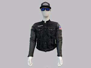 EagleRider Motorcycle Jacket Leather Denim Hybrid Great With Club Vest HD Harley
