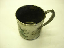 Antique Collectible Child's Cup Stamped 3504 Beautiful & Decorated & Initialed