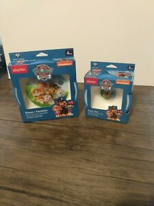 Kids Paw Patrol 3 Bowl and two plate piece Set Blue Break & Shatter Resistant
