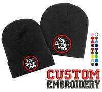 Custom Design Embroidery Beanie add your own Logo or Text Embroidered Beanie Hat