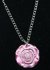 "Shell Rose Red 1.5"" Pendant Necklace Silver Rhodium Chain Flower 18"" Rose Bud"