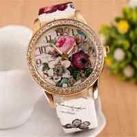 Ladies Women's Flower Dial Leather Stainless Steel Analog Quartz Wrist Watch FT