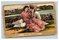 Vintage 1909 Postcard The Navy Sailor's Knot Romantic Couple Embracing