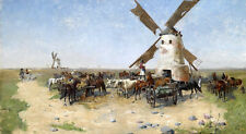 Elegance Oil painting horses & cattles carriage and Oxcart before huge windmill