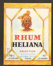 """LE HAVRE (76) ETIQUETTE de RHUM HELIANA """"Ets. LEFEBVRE Freres"""""""
