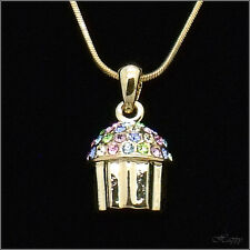 CUPCAKE Mini Baker Charm Cake Pendant Necklace Costume Crystal Multicolor PG36-2