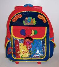 "DORA EXPLORER Large 15"" ROLLING BACKPACK Travel School Bag Supplies Accessories"