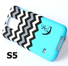 For Samsung Galaxy S5 -HARD SNAP ON CASE COVER BLUE BLACK WHITE CHEVRON / ANCHOR