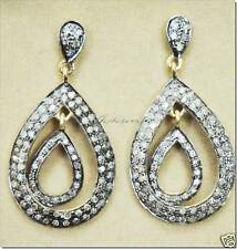 TRENDY & TEMPTING HANDCRAFTED ROSE CUT DIAMOND GOLD SILVER EARRING