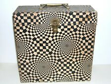 """Vintage '60s Psychedelic Black & White 12"""" Record Album LP Carrying Carrier Case"""