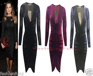 Womens Ladies Velvet VELOUR Plunge Neck Ruched Midi Bodycon Party Evening Dress