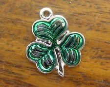 Irish Enamel charm Version #2 #F Vintage stg. silver Shamrock Three Leaf Clover