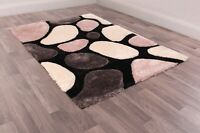 Ultimate Stepping Stone Blush Pink Grey Layered Shaggy Rug in various sizes