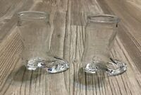 Jim Beam Bourbon Whisky Boot Shot Glass (2) Shooters Bar Ware Bar EUC