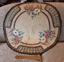"Wonderful Art Deco/Arts & Crafts Hand Embroidered Linen Cloth~ 34"" Round"