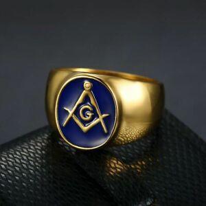 Men's Masonic Rings Stainless Steel Vintage Oval Signet Blue Enamel Ring Biker