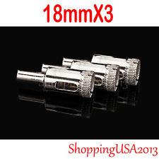 "3x 18mm Diamond Coated tool drill bit hole saw glass ceramic marble tile 11/16""*"