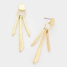 Triple Metal Bar Linear Dangle Drop Pierced Earrings Gold Tone Fashion Jewelry