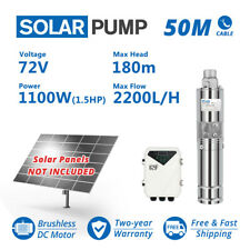 "3"" DC Screw Solar Water Bore Pump 72V 1100W Submersible Well Garden Pond 180m"