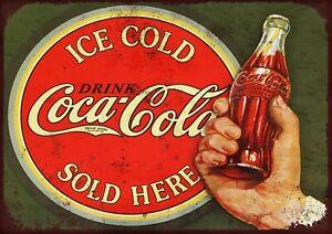 """COCA-COLA Retro7.5"""" x 10.5"""" VINTAGE STYLE METAL ADVERTISING SIGN WALL PLAQUE"""