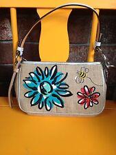 Coach Bumblebee & Flower Embroidered Burlap Leather Demi Rhinestone Small Bag