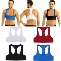 Men's Sexy Muscle Vest Crop Top Sleeveless Y Back Tank Tops Costume Club T-shirt