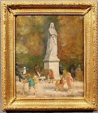 Beautiful Parisian 20th Century Oil Panting by A. Paris Children at the Park