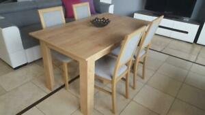 Modern wooden dining table with 4 chairs in light wood colour, oak burlington