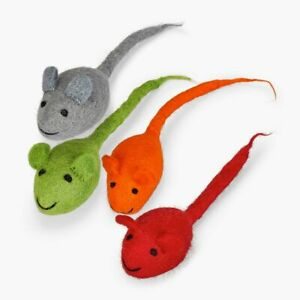 4 Set Felted Mouse Toys, 100% New-Zealand Wool, For Cats and Small Dog, Handmade