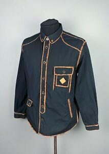 Men's Paul Smith Jeans Black Dyed Seams Cotton Overshirt Shirt Jacket Size XL