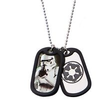 Star Wars Close Up Storm Trooper Double Dog Tag  Stainless Steel Chain Necklace