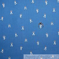 BonEful Fabric FQ Cotton Quilt Blue White US Navy Military Ship Boy Small Stripe