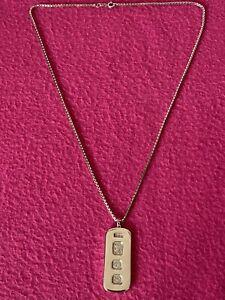 "Vintage 1978 Sterling Silver Ingot Bar Pendant & 22"" Sterling Silver Chain/33.8g"